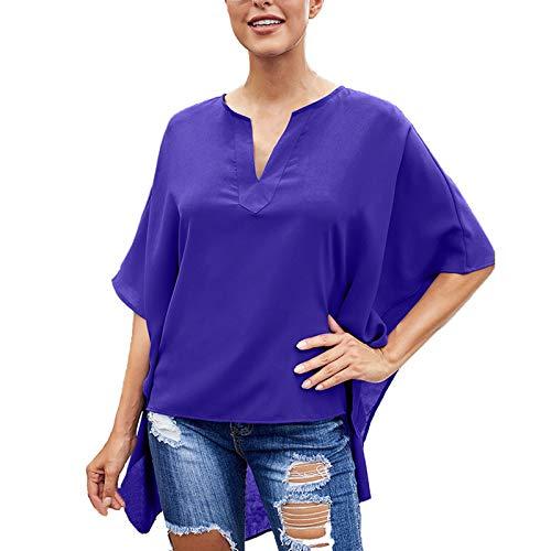 Camisas Elegantes De Manga Corta para Mujer, Camisa Casual Lisa con Cuello En V para Mujer
