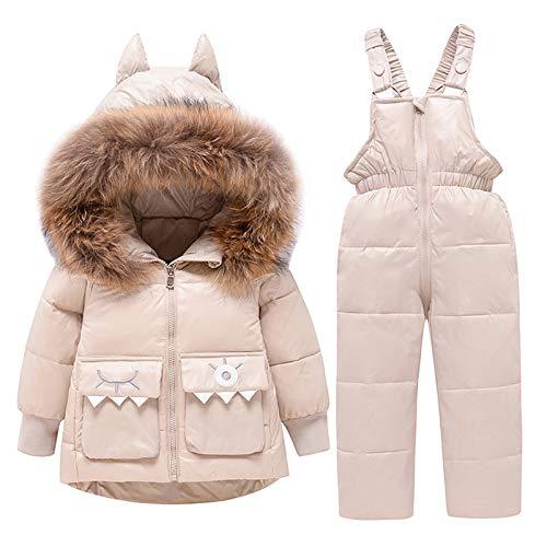 amropi Skianzug Mädchen Kinder Schneeanzug Daunenjacke mit Kaputze + Skihose 2tlg Bekleidungsset Winteranzug Beige,2-3 Jahre