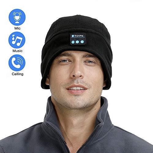 Navly Bluetooth Beanie Mütze Bluetooth V5.0 Freisprech-Funktion Musik Kappe Headset,Unisex Beanie Kopfhörer mit Mikrofon,Dicken, Weichen & Warmen Klobigen Beanie Mützen für den Winter im Freien