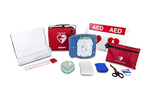 Philips HeartStart OnSite AED Defibrillator Value Package with Slim Carry Case, AED Wall Sign, Fast Response Kit and AED Wall Mount