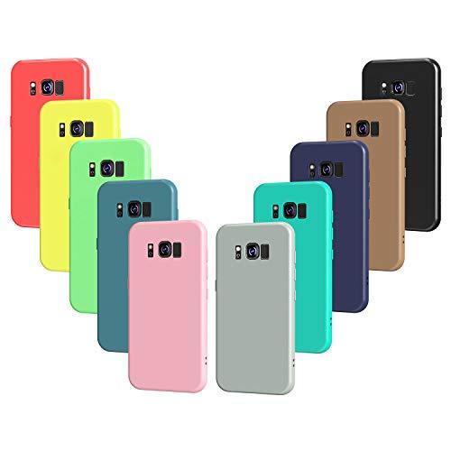 VGUARD 10 x Funda para Samsung Galaxy S8, Ultra Fina Carcasa Silicona TPU Protector Flexible Funda (Negro, Gris, Azul Oscuro, Azul Cielo, Azul, Verde, Rosa, Rojo, Amarillo, Marrón)