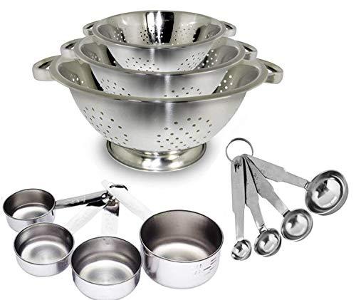 Kitchen Kemistry, Juego de 3 coladores de acero inoxidable de alta calidad (1 cuarto, 2.5 cuartos y 4 cuartos de galón), y taza medidora – Juego de 4 piezas y cucharas medidoras...
