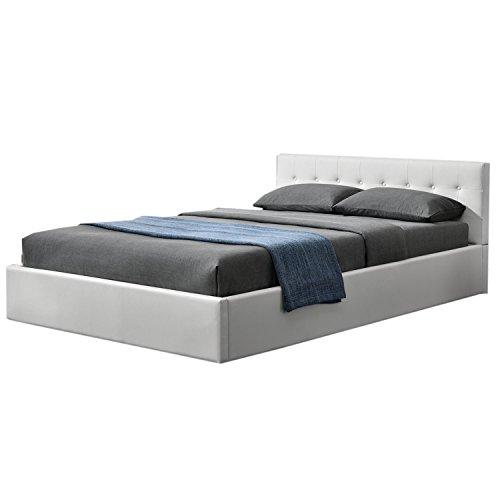 ArtLife Polsterbett Marbella 140 x 200 cm mit Bettkasten & Lattenrost – Bettgestell aus Kunstleder und Holz – Bett Jugendbett weiß