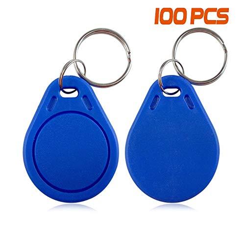 YAVIS 100pcs 13,56MHz RFID Llaveros genéricos 1K Chip etiqueta Proximidad Llave Tag MF IC NFC Tarjetas de Control de acceso Llavero Token Key fobs Azul