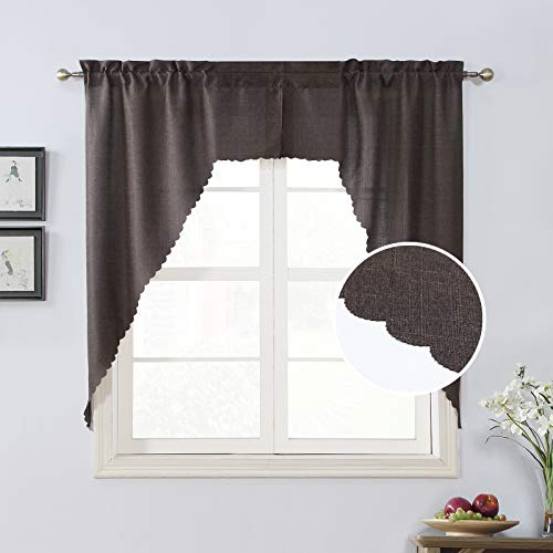 Rama Rose Pole Pocket Kitchen Swag Curtains- Burlap Scalloped Valance for Farmhouse ( 2 Panels, 72 Inches Wide Combined, 63 Inches Long, Brown)