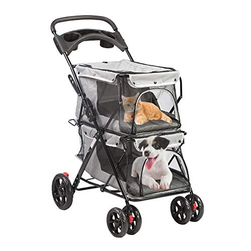 LUCKYERMORE Double Pet Stroller for 2 Dogs Cats Small Medium Animals Folding Travel Carriage, Easy...