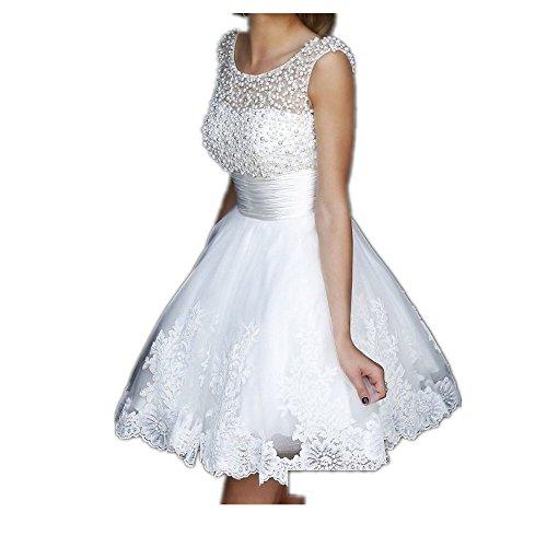 YASIOU Hochzeitskleid Damen Weiß Kurz Tüll Spitze A Linie Perlen Durchsichtig Brautkleider