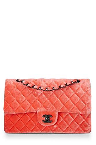CHANEL Orange Velvet Double Flap Shoulder Bag (Renewed)