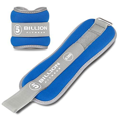 5BILLION Pesas de muñeca Pesas Reflectantes para piernas para Hombres y Mujeres Ideal para Hacer Ejercicio, Hacer Ejercicio, Caminar, Trotar, Gimnasia, aeróbicos, Gimnasio, Fisioterapia (Azul)