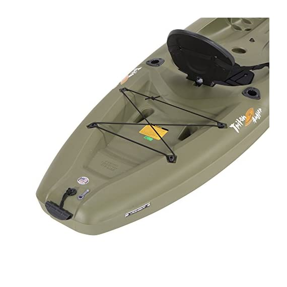 Lifetime triton angler 100 fishing kayak, olive green 2 stable hull design and integrated skeg for tracking performance multiple footrest positions for different size paddlers - 275 lb. Weight capacity self-bailing scupper holes to drain water from the cockpit and tankwell