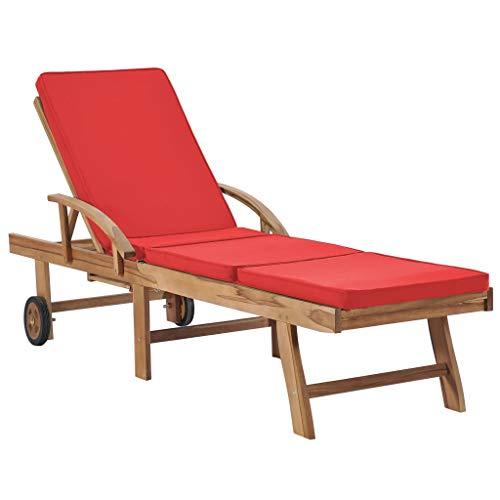 vidaXL Red Teak Solid Wood Sun Lounger
