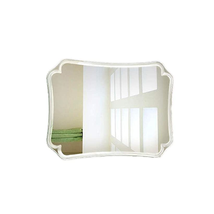 鋸歯状幹花嫁モダンなフレームレススクエアバスルームミラー 壁掛けバスルームバスルームガラスシルバーミラー バスルームバニティメイクアップバスルームクリアミラー(サイズ:50x70cm)