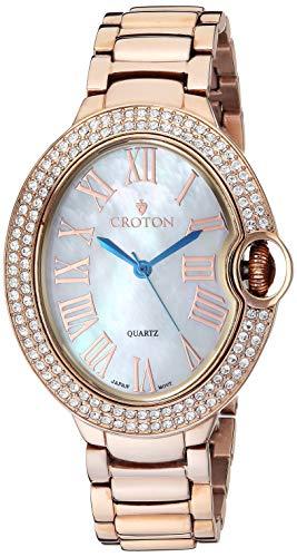 Croton Damen Rosetone Quarz Armbanduhr mit Kristall Lünette & Mutter von Pearl Zifferblatt–cn207566rgmp