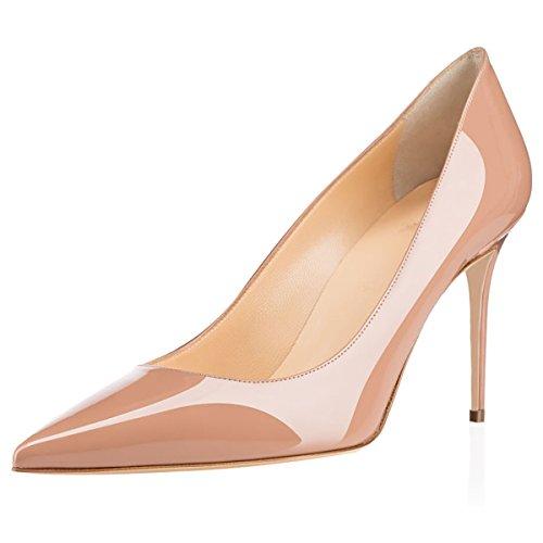 elashe Escarpins Femme - 8 cm Kitten-Heel Chaussures - Bout Pointu Fermé - Classique Bureau Soiree Shoes Beige EU39