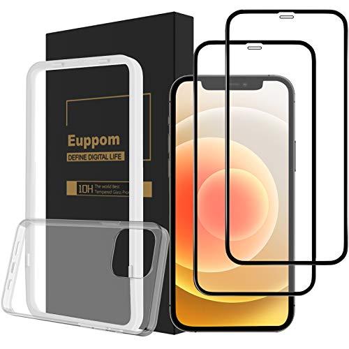 Euppom iPhone 12/12Pro用ガラスフィルム 強化ガラス フィルム 全面保護 【貼り付け補助器と保護ケース付き】