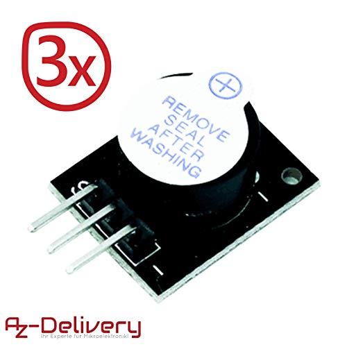 AZDelivery 3 x KY-012 Módulo de alarma de altavoz piezoeléctrico pasivo placa de circuito impreso para Arduino con eBook incluido