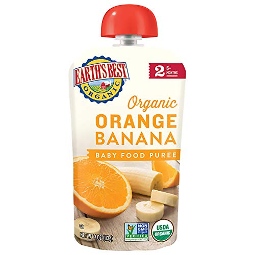 Earth's Best Organic Baby Food Puree Pouch, Orange & Banana, Stage 2 For Babies 6 months & Older, 4 Oz (Pack of 12)