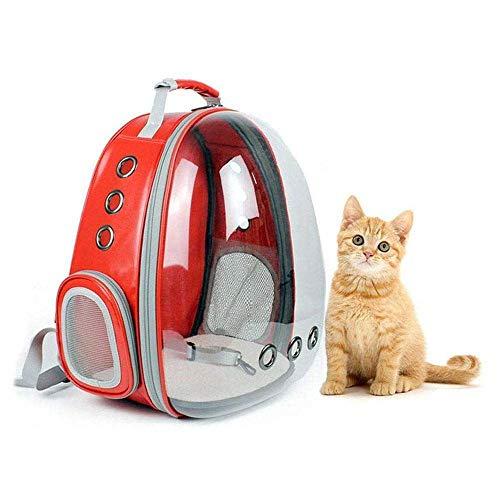 JVSISM Mochila Portátil Para Mascotas Burbuja Portador, Bolso Mochila de Conejo de Turismo de 360 Grados de Dise?o de Cápsula Espacial Nuevo Bolsa de Viaje Transparente (Rojo)