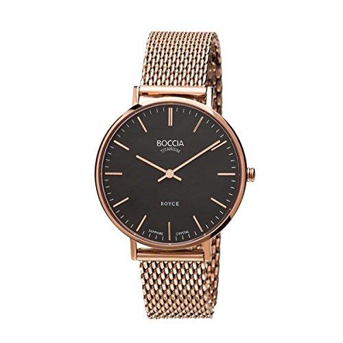 Boccia Damen Analog Quarz Uhr mit Edelstahl beschichtet Armband 3590-10