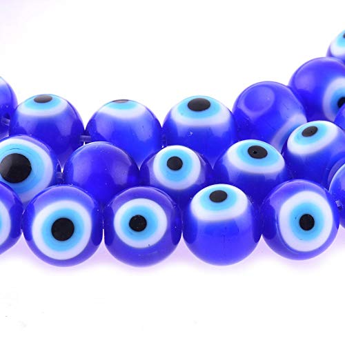 10mm 200 Pcs Blue Evil Eye Glass Beads of Jewelry Findings for Bracelet,Necklace or Others