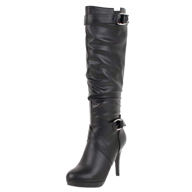 [Unm] レディーズ ハイヒール 長いです ブーツ ジッパー Party 靴