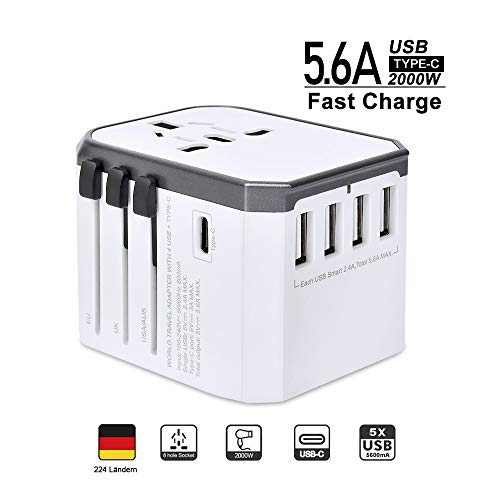 Reiseadapter Reisestecker Weltweit 224+ Ländern 5.6A Fast Charge Universal Travel Adapter mit 4 USB Ports+Typ C+AC Steckdosen Internationale Stromadapter für USA China Europa UK Thailand Usw