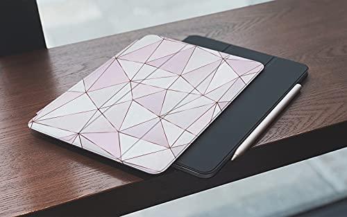 MEMETARO Funda para iPad (9,7 Pulgadas 2018/2017 Modelo), Patrón Poligonal de Oro Rosa con Azulejos Triangulares Smart Leather Stand Cover with Auto Wake/Sleep