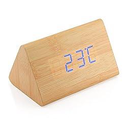 GEARONIC TM Modern Triangle Wood Clock Digital LED Wooden Alarm Clocks Digital Desk Thermometer Classical Timer Calendar Updated 2018 Brighter LED - Bamboo