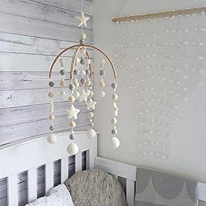 Neutral Baby Crib Mobile Nursery Cot Mobile Felt Ball Mobile Handmade Mobile Pom Pom Mobile Ceiling Mobile