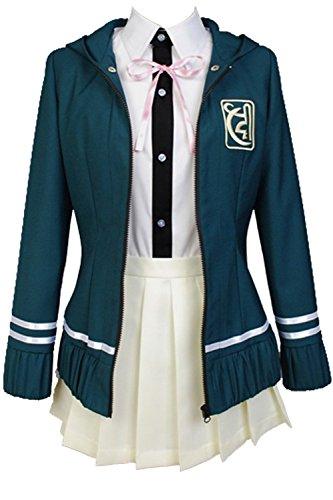 Ya-cos Cosplay Female High School Chiaki Nanami Cosplay Outfit Uniform Dress Green (Female:X-Large, Green)