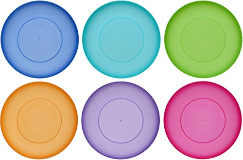 idea-station Neo Platos plastico 6 Piezas, 21.5 cm, Colorido, Reutilizable, Redonda, apilable, Duro, para Fiestas, Camping, Infantiles, ninos, Bebe, Apta para lavavajillas