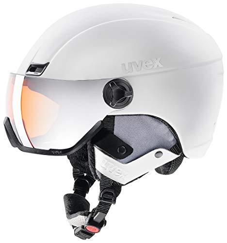 uvex Unisex– Erwachsene, hlmt 400 visor style Skihelm, white, 53-58 cm