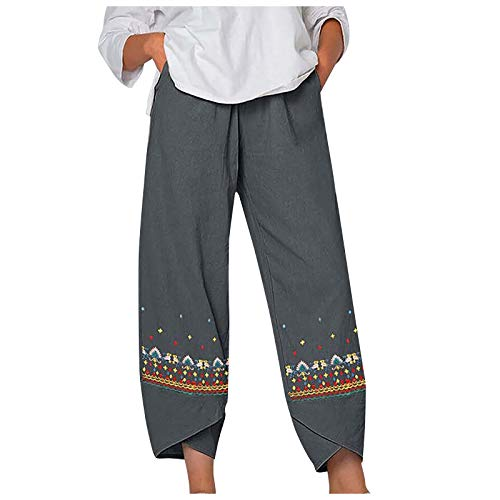 RONGYP Pantalones de lino para mujer, informales, holgados, de verano, cómodos, holgados, holgados, para ocio, bordados, con pernera ancha, 7/8, monocolor, pantalones deportivos con bolsillos gris L