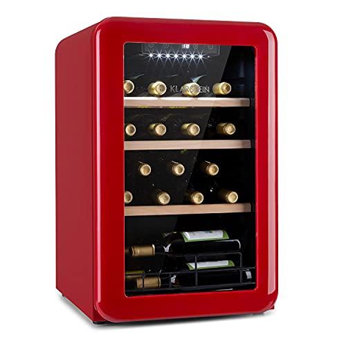 Klarstein Vinetage Uno Weinkühlschrank, Temperatur: 4-22 °C, Kompressor, 2 Holzregalebenen, LED-Beleuchtung, UV-Schutz, Weinkühler, Klein, Freistehend, 70 Liter / 19 Flaschen, Rot