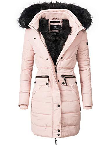 Navahoo Damen Winter Mantel Steppmantel Paula (vegan hergestellt) Rosa mit schwarzem Fell Gr. XS