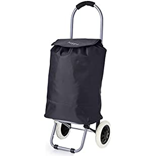 Hoppa Mini Small Black Lightweight hard wearing 2 Wheel Grocery Shopping Trolley Cart, 35L:Eventmanager