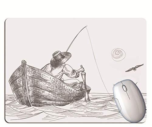 Alfombrilla De Ratón Para Juegos, Anciano Sentado En Un Bote De Pesca, Goma Resistente Al Desgaste Y Duradera, Alfombrilla De Ratón Para Computadora Portátil Para Juegos De Oficina