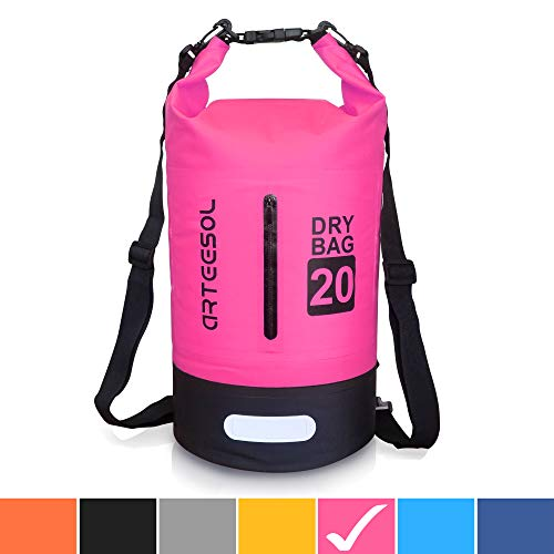 arteesol Waterproof Bag 5L/10L/20L/30L Dry Bag Rucksack with Double Shoulder Strap Backpack for Swimming Kayaking Boating Fishing Traveling Cycling Beach-[7 Colors]