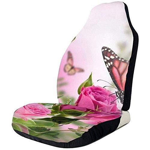 Cubierta Del Asiento Delantero Flower Decor Butter-Fly Fliying On The