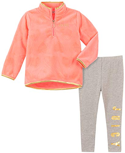 Juicy Couture Girls' 2 Pieces Pullover Pants Set, Pink/Vanilla, 4T