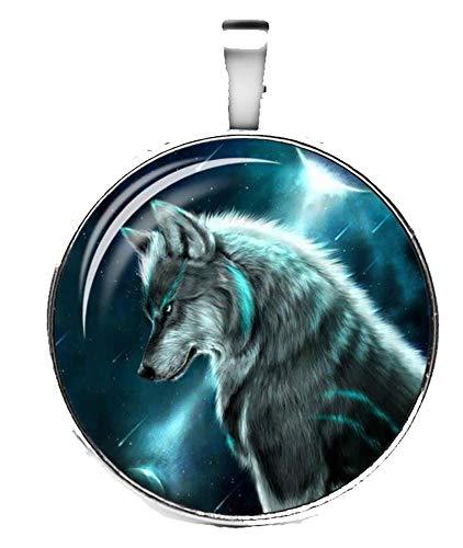Merchandise for Fans Halskette mit Anhänger/Silberschmuck/Indianerschmuck. Farbe: Silber, Motiv: Wolf nachtleuchtend, fluoreszierend (02)