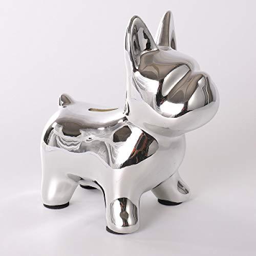 DIAOSUJIA sculptuur, zilveren oplage schattige bulldog geld dozen imitatie hond spaarvarken kabinet versieringen familie decoratieve popart