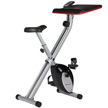 Ultrasport F-Bike Work Bicicleta estática de fitness con estación de trabajo, aparato doméstico, con consola y sensores de pulso en manillar, plegable, Plata/Negro