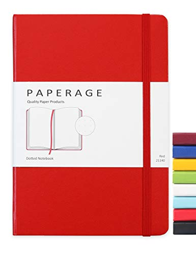 Paperage Dotted Journal Bullet Notebook, Hard Cover, Medium 5.7 x 8 inches, 100 gsm Thick Paper (Red, Dotted)
