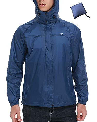 Men's Rain Jackets Waterproof Lightweight Windbreaker Packable with Hood Cycling