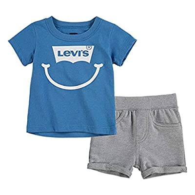 Levi's Baby Boys Graphic T-Shirt and Shorts 2-Piece Outfit Set, Blue/Grey, 3M