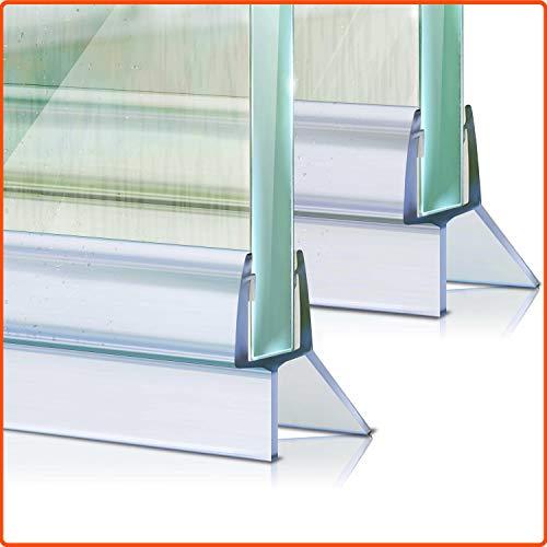 Meisterfaktur Duschdichtung 2x - Verlängerter Wasserabweiser - Ideale Dichtung für 6,7,8mm Glastüren in Duschen (Transparent)
