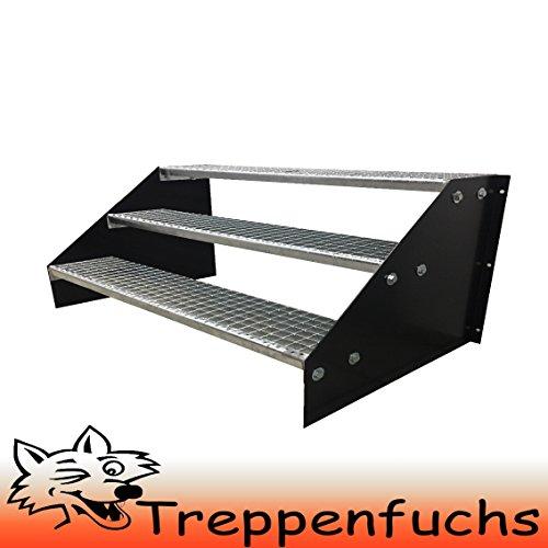 3 Stufen Standtreppe Stahltreppe freistehend Breite 100cm Höhe 63cm Schwarz / Robuste Außentreppe / Stabile Industrietreppe für den Außenbereich