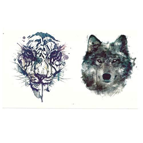 JUSTFOX - Temporäres Tattoo Tiger Wolf Design Temporary Klebetattoo Körperkunst