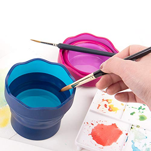 Canamite Portable Collapsible Bucket Painting Watercolor Pen Plastic Washing Pen Cup Telescopic Barrel Art Supplies (Blue)